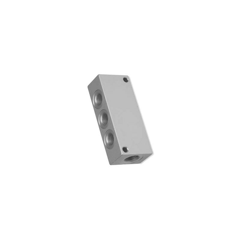 Camozzi - 3043 1/4-3D-1/8 Aluminium Distribution Block-Double Sided-6 Outlets-1/8