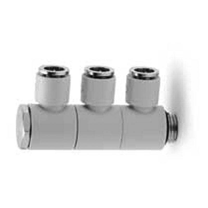 Camozzi - 7612 03-10-1/4 TechNOpolymer Fitting-3 Single Outlets-10mm Tube-1/4 Thread